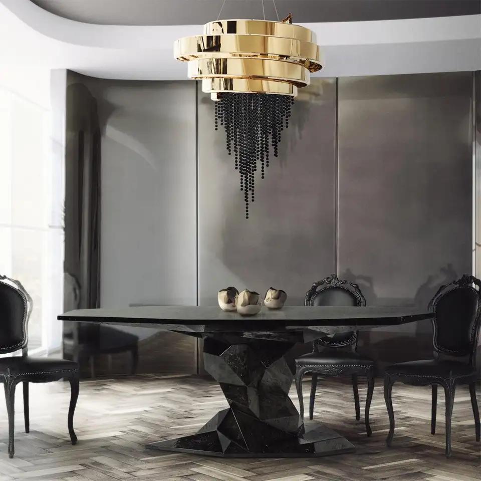 Jungle Black Dining Table Glossy Black Lacquered Wood Luxury Dining Room Luxury Dining Tables Contemporary Interior Design