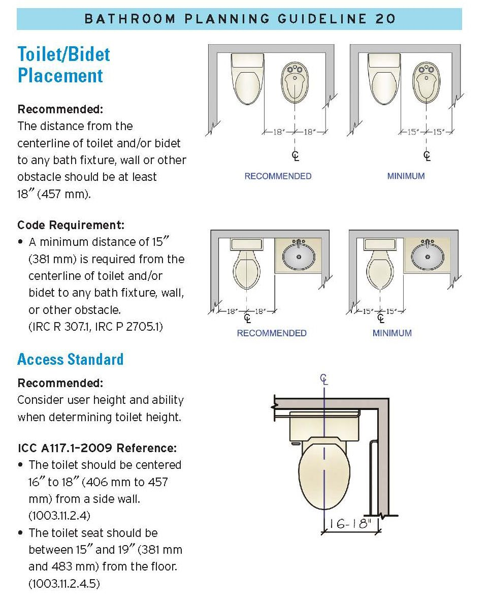 Toilet/Bidet Placement : Kitchen and Bath Design Cheat sheet : Pinterest : Toilet, Bath design ...