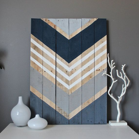 How to's : Navy, shades of gray and white adorn this reclaimed wood art piece. This large piece is 21x29--each completed art piece will vary slightly in size