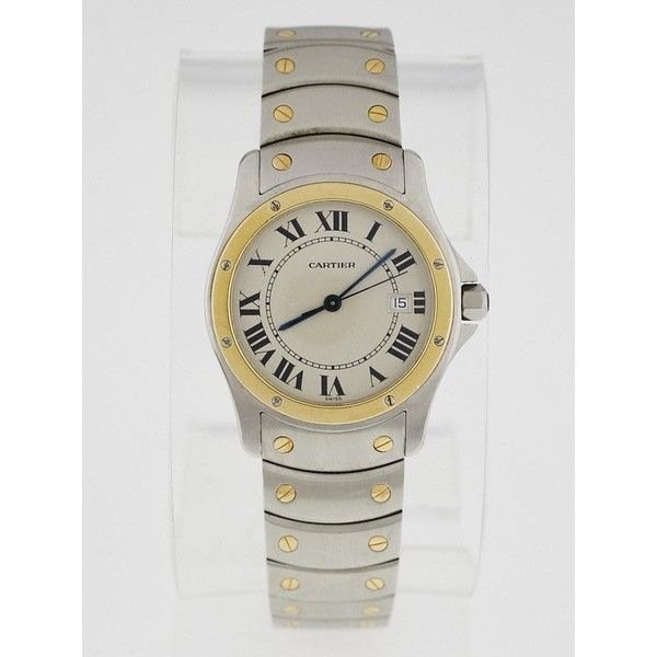 Pre-owned Cartier 28mm Stainless Steel and 18k Gold Ronde Santos Swiss... ($2,195) ❤ liked on Polyvore featuring jewelry, watches, stainless steel jewelry, gold jewelry, 18k gold watches, water resistant watches and gold wristwatch