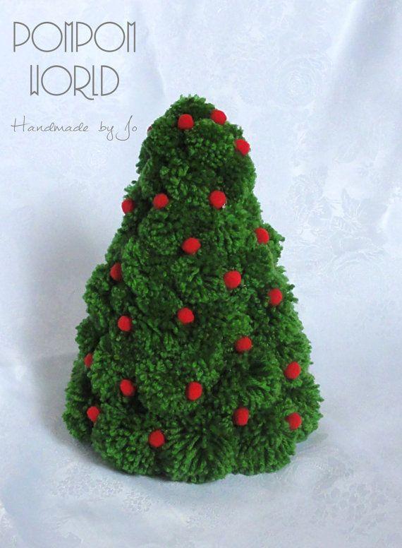 Pompom Christmas tree, Pom pom, Holiday, Red baubles, Green Pompom, Decoration, Fluffy, Home Decoration, Holiday decoration, Classic color