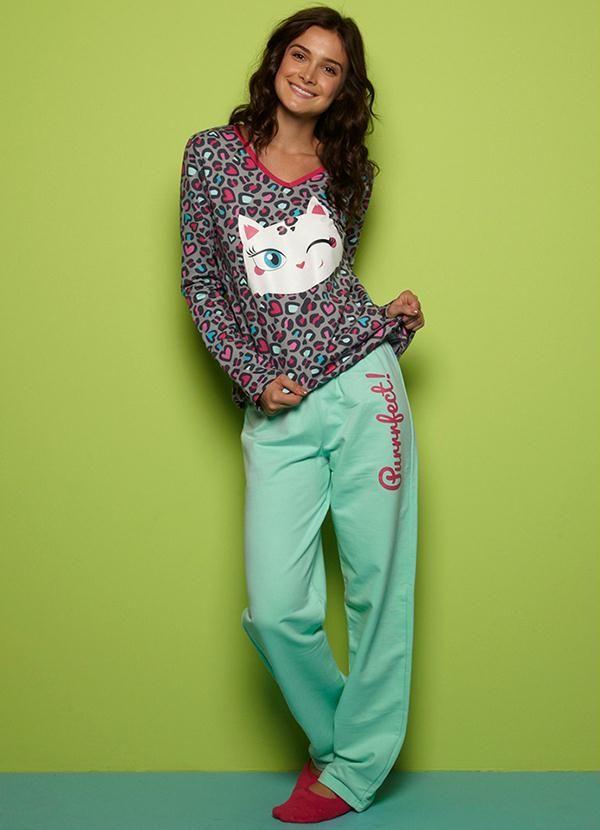 d6d6ea3646cd97 Pijama Adulto Feminino Cinza Puket - Posthaus   Jamies   Pijama ...