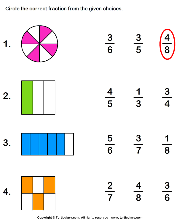 Download And Print Turtle Diary S Identifying Fractions Worksheet Our Large Collection Of Math Worksheets Are A Fractions Worksheets Math Worksheets Fractions