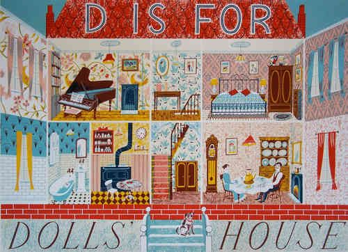 Emily Sutton D Is For Dolls House Unframed Potterton Books London スクリーン印刷 ドールハウス 印刷