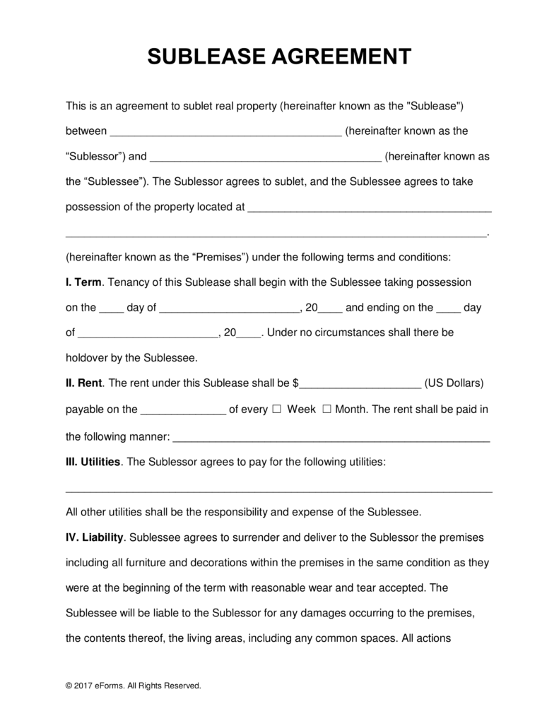 Sublease Agreement Rental Agreement Templates Agreement