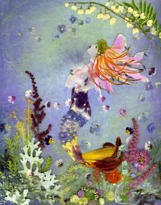 Waiting - mermaid - pressed flower art - Shelley Xie