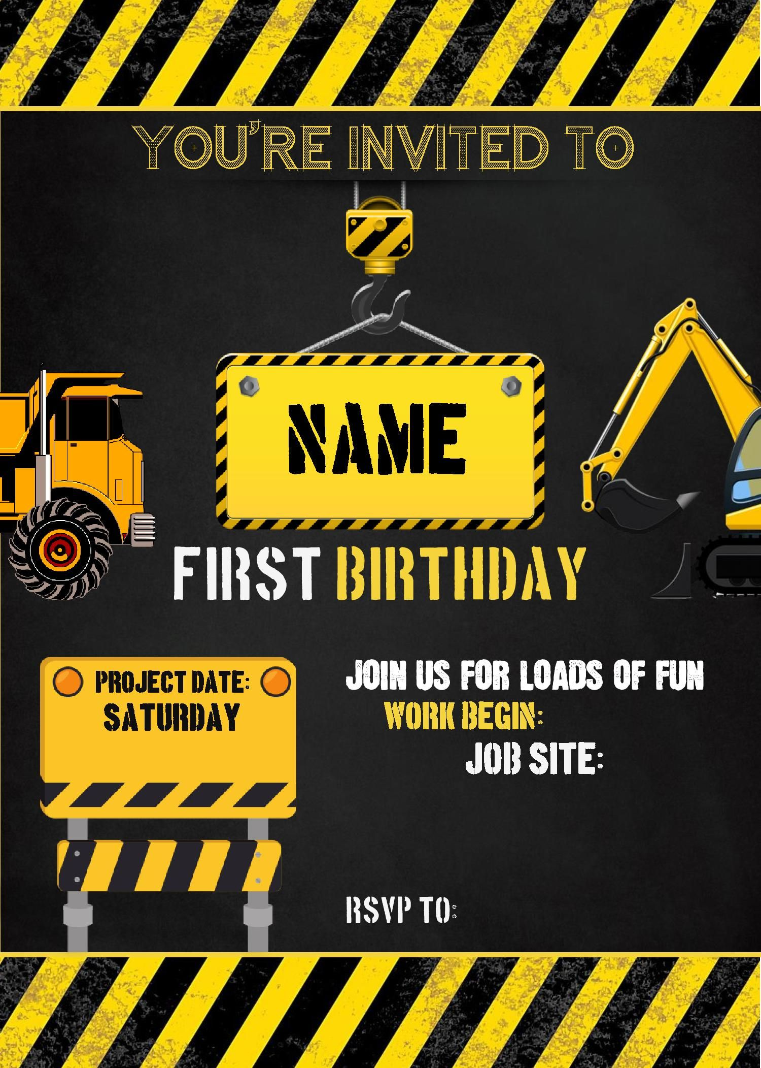 Diy Printable Construction Party Invitation And Package As Seen On Hostess With The Mostess Invitations Announcements Paper Party Supplies Jewellerymilad Com