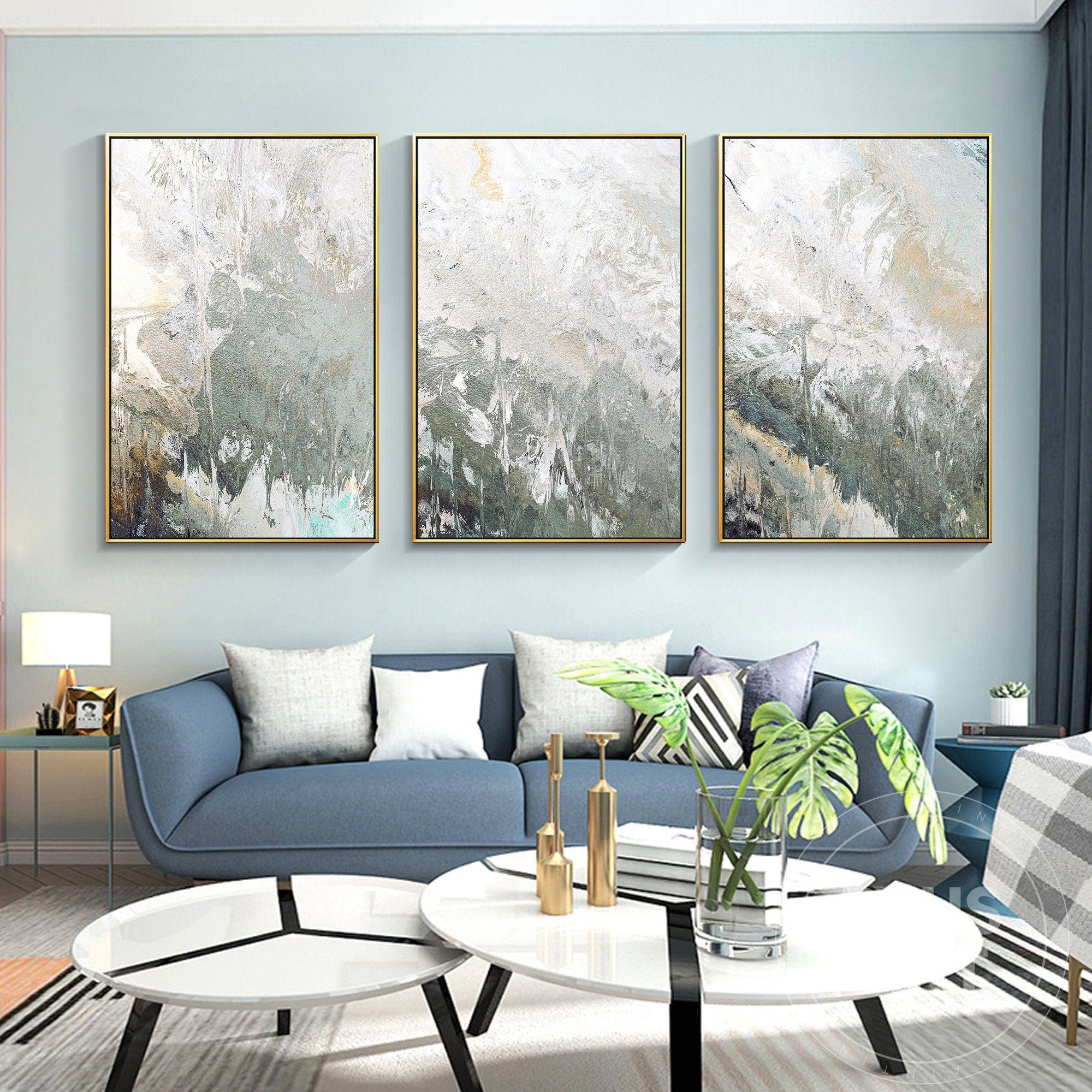 Abstract Painting Framed Wall Art Set Of 3 Prints Abstract Etsy In 2021 Wall Art Sets Frames On Wall 3 Piece Wall Art