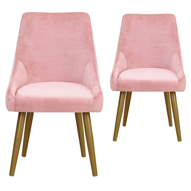 Lot De 2 Fauteuils Fokora Velours Rose En 2020 Velours Rose Chaise Salle A Manger Et Fauteuil Confortable