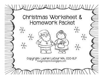 Christmas Worksheet & Homework Pack for Speech Therapy | SLPs on TpT ...