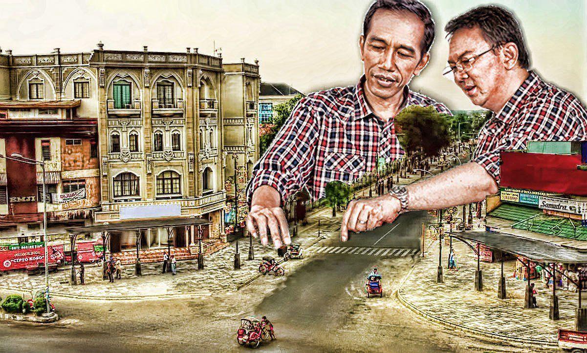 Sebuah gambar ilustrasi JokowiAhok menata kota yang dibuat secara