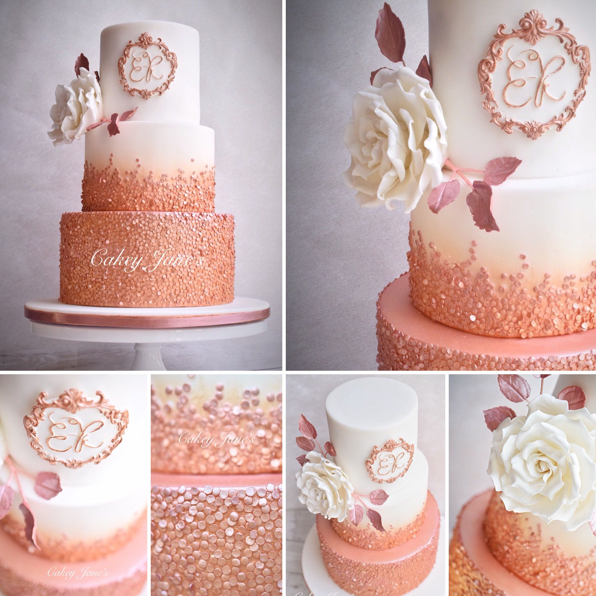 Rose Gold Sequin Ombre Cake With Full Blown Sugar Rose Motif