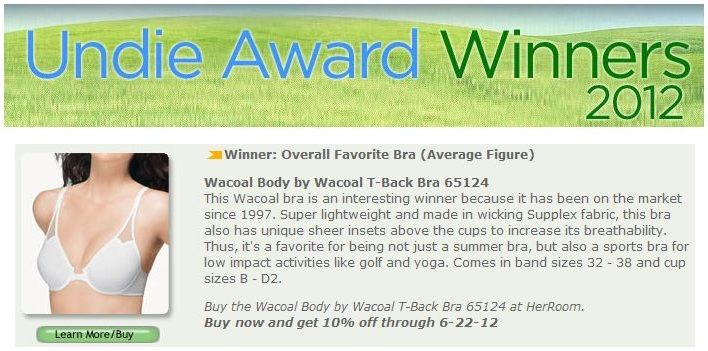 Our Body by Wacoal T-Back Underwire Bra won Overall Favorite Average Figure Bra in HerRoom's Sixth Annual Undie Awards!