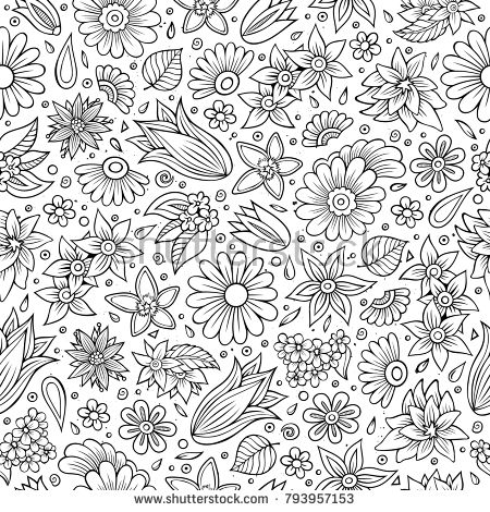 Seamless Floral Pattern Doodle Set Of Flowers And Leaves In Vintage Style Vector Illustration Hand Drawn Elements Sketch Background