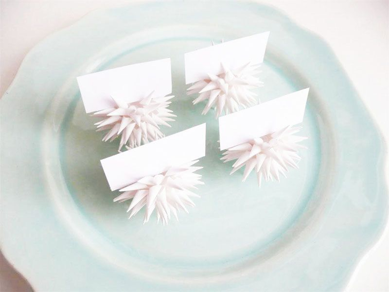 Place Card Holders Party Favors White Handmade Mini Paper Star Urchin Ornaments Individually Boxed Gifts - Set of FOUR 2 inch - Fine White. $64.00, via Etsy.