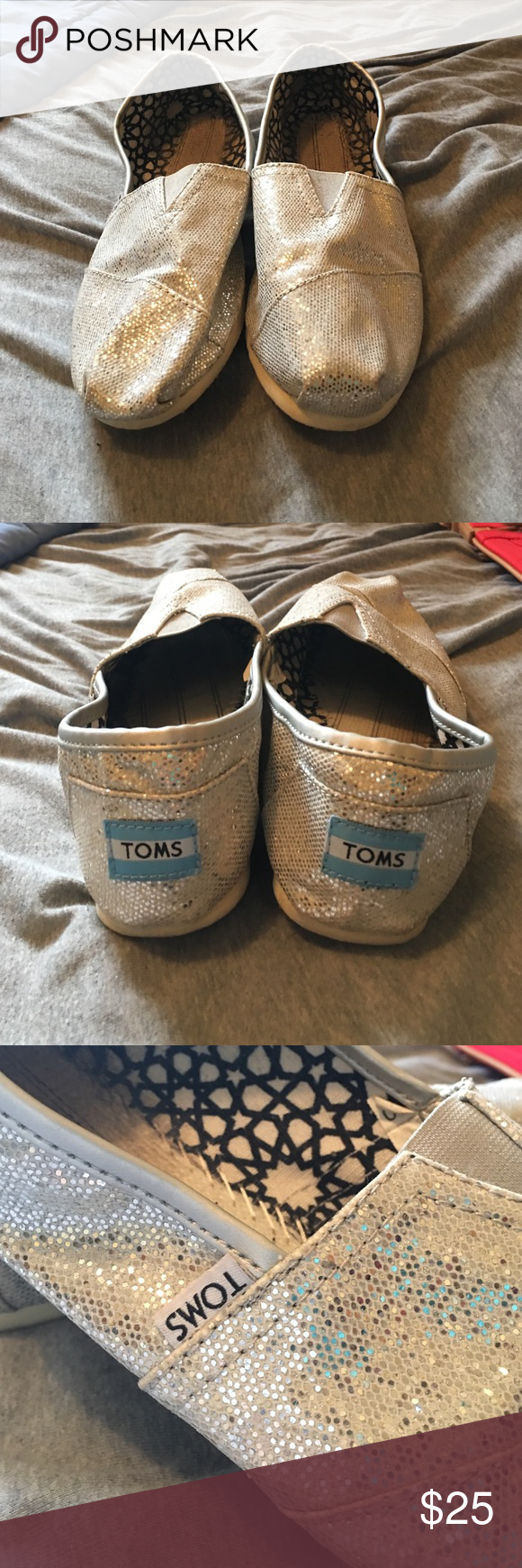 Silver glittery Toms! Only worn once and the drawstring bag is included! TOMS Shoes Flats & Loafers