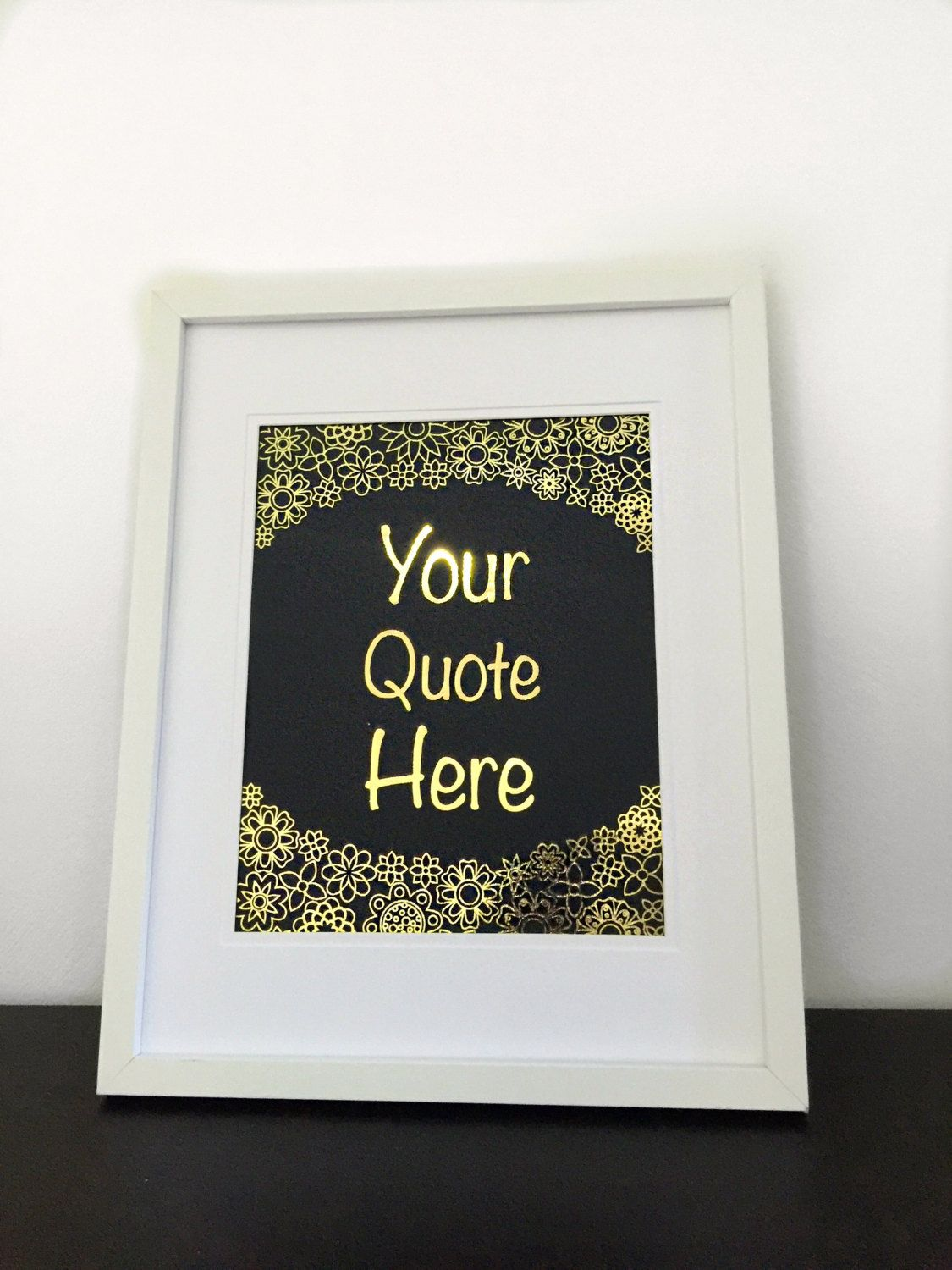 Custom Gold Foil Print- Your own quote in gold foil! Choose your font. Personalised Foil Print. A4 Foil Print. Wedding reception Decoration by GlitzyPrints on Etsy