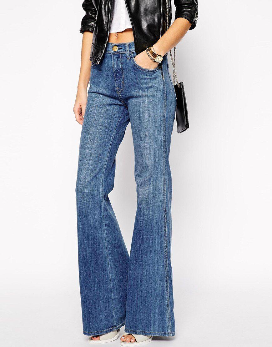 Image 1 of Current Elliott Girl Crush Wide Leg Flare Jeans