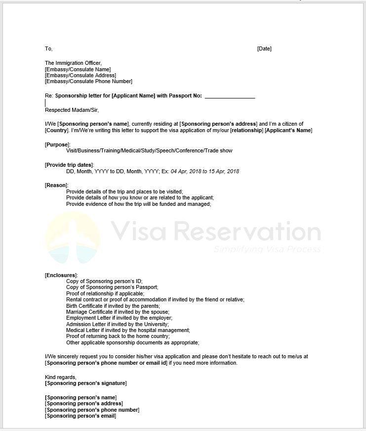 Sample Letter From Sponsor For Visa Sponsorship Letter Letter Example Support Letter