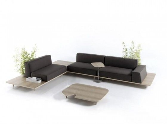 Merveilleux Marvelous Modular Leather Sofa With Wooden Platform Furniture: Platform  Sofas