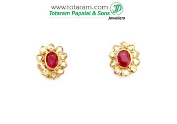 22K Gold Uncut Diamond Earrings with Ruby - DER609 - Indian Jewelry from Totaram Jewelers