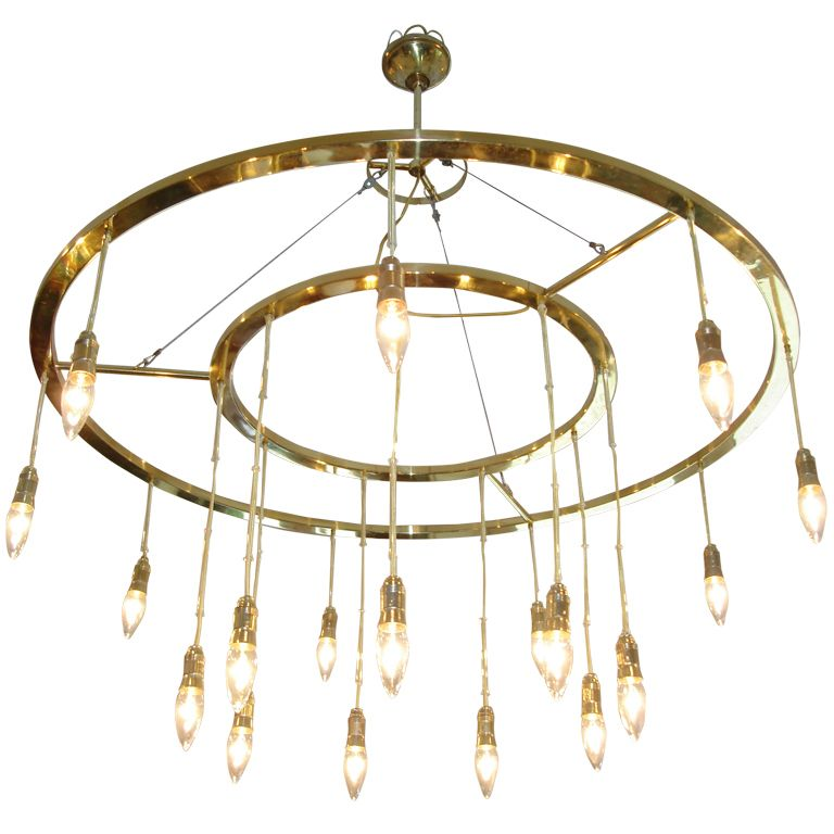 Oversized Double Brass Italian Sphere Light Fixture
