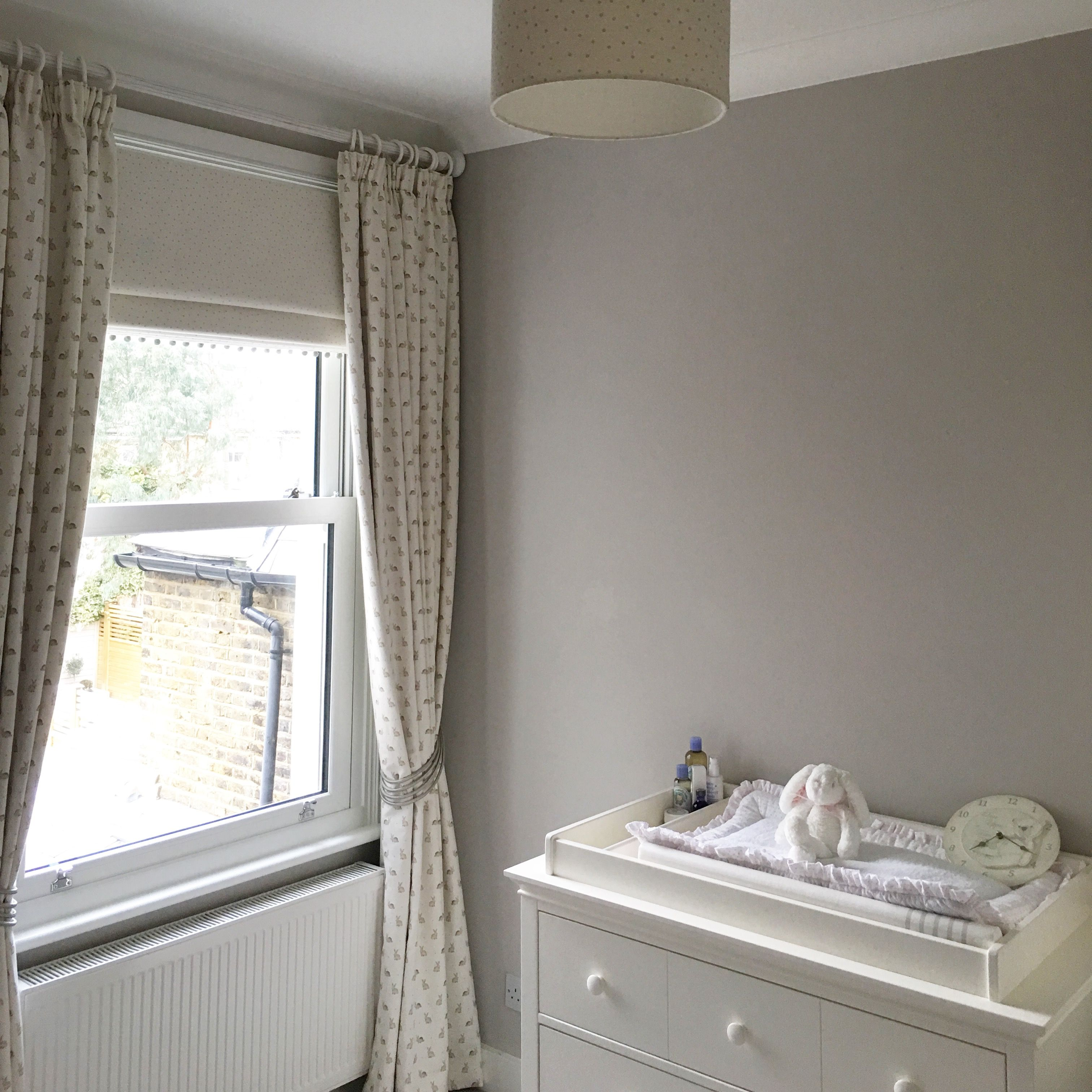 Bespoke Dove Grey Dotty Blinds With Pompom Trim With Matching
