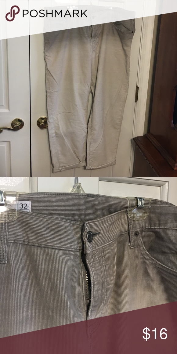 GAP dip dyed sexy boyfriend cords These are awesome. Super comfortable and unique. Barely worn. Mid grey ombré down to off white GAP Pants Ankle & Cropped