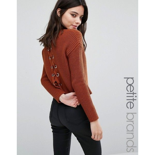 Missguided Petite Lace Up Back Boxy Jumper ($31) ❤ liked on ...