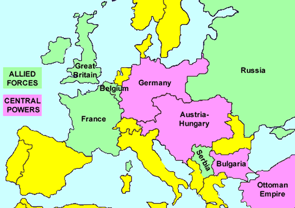 Image result for outline map of world mark axis power and allied world war i this is a visual representation of the allied powers vs the central powers gumiabroncs Choice Image
