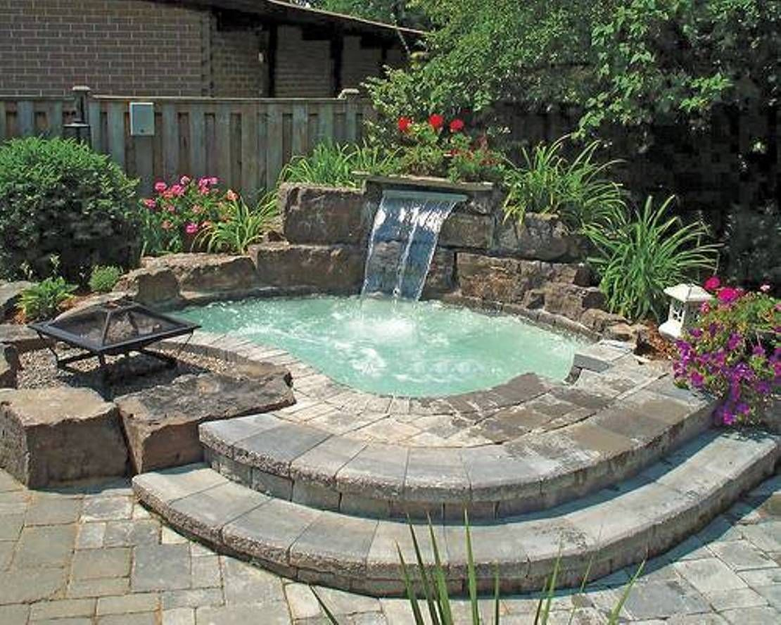 inground pools with waterfalls and hot tubs. Inground Hot Tub With Waterfall And Fire Pit : Relaxing Outdoor Pools Waterfalls Tubs C