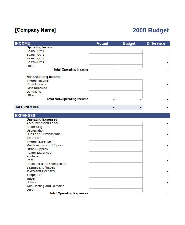 Company Budget Template Free , 10+ Budget Template Pdf , Tips In - expenses template free