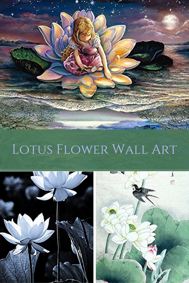 Lotus flower decor is more popular and ever! Understandably so as the lotus flower symbolizes purity of body, heart and soul. Additionally it means detachment to outcome as you will see water drops slide easily from its petals.  Lotus Flower Wall Art