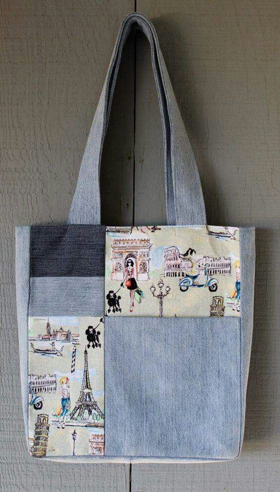 Patchwork denim tote bag Denim Reciclato ab8e073ff7b