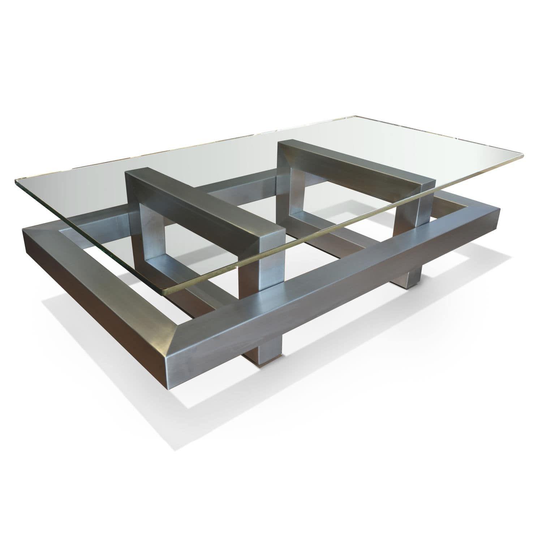 Mesa de centro moderna de cristal de acero for Mesa de centro de metal industrial
