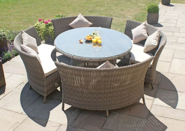 Winchester Dallas Oval Six Seater Rattan Dining Set Rattan