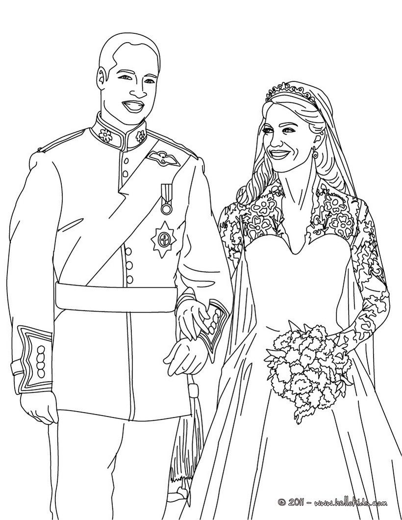 prince william and kate middleton coloring page. more