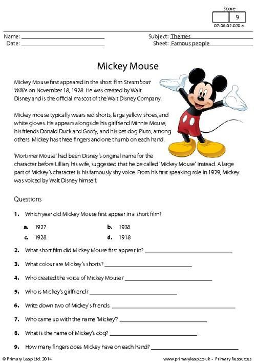 reading comprehension mickey mouse worksheet cvgdfr reading. Black Bedroom Furniture Sets. Home Design Ideas