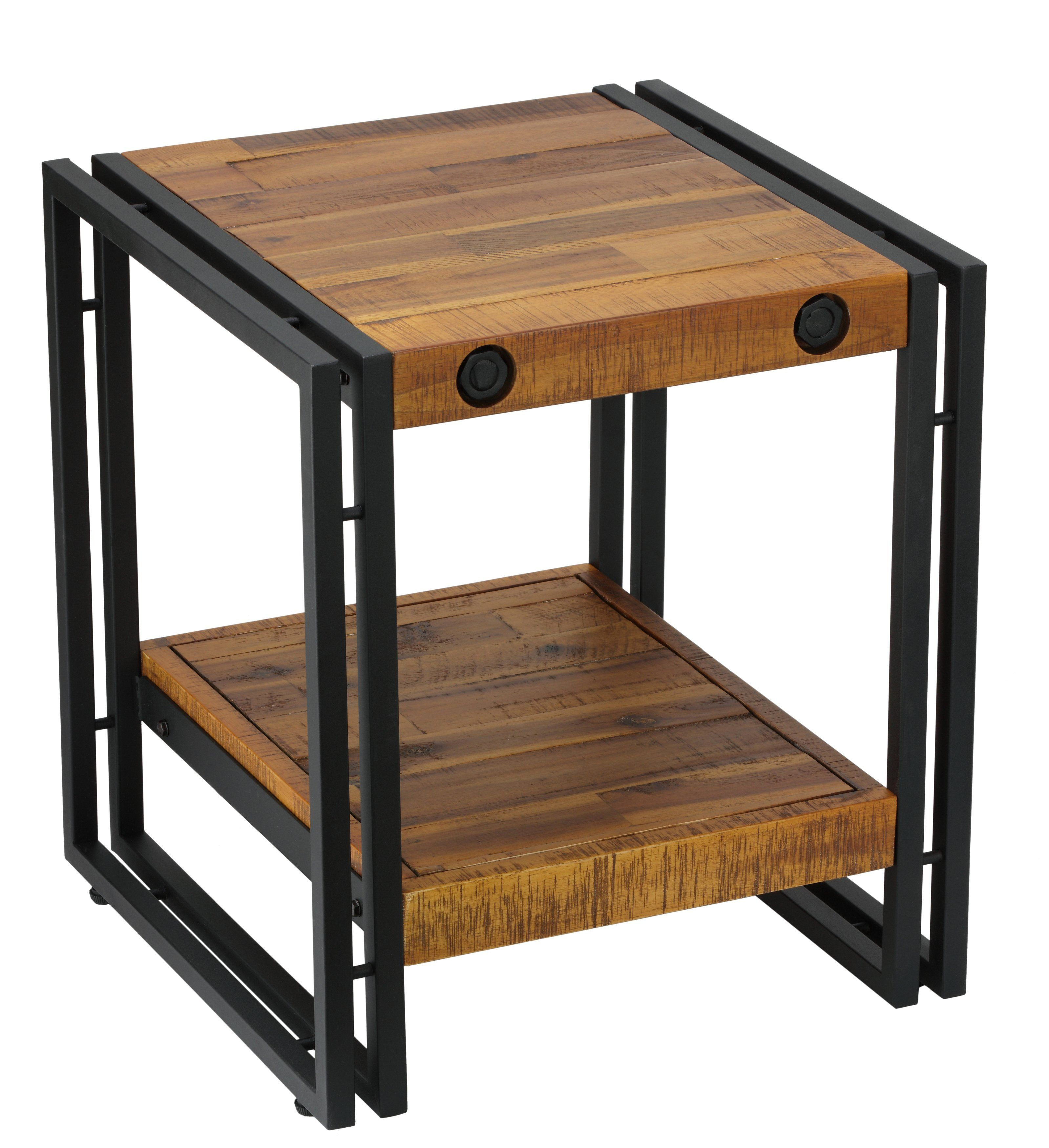 Cortesi Home Penni End Table, Solid Wood With Black Metal