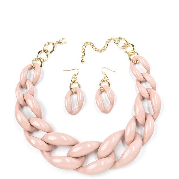 Links On Links Necklace Set PINK (€15) ❤ liked on Polyvore featuring jewelry, necklaces, accessories, pink, set necklace, graduation jewelry, artificial jewellery, imitation jewelry and fake jewelry