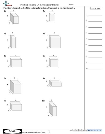 Finding Volume Of Rectangular Prisms Worksheet Volume Worksheets Grade 6 Math Worksheets Worksheets