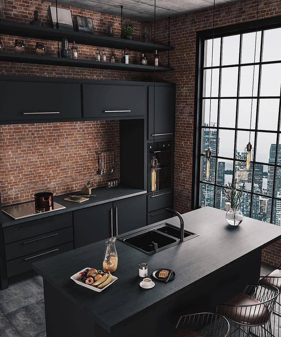 New The 10 Best Home Decor With Pictures Czarna Matowa Kuchnia Z Wyspa Do Tego Cegla I Taaakie Ok Top Kitchen Trends Home Interior Design House Interior