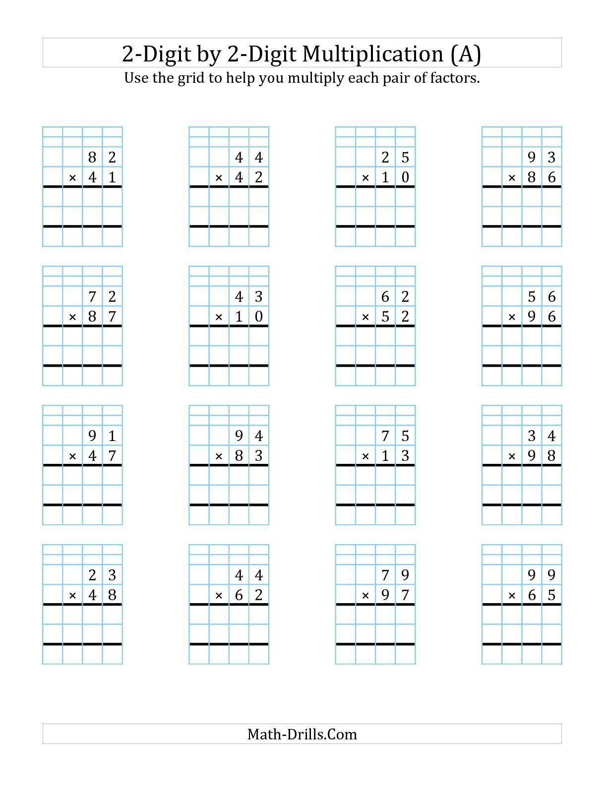 Box Method Multiplication Worksheet Partial Products