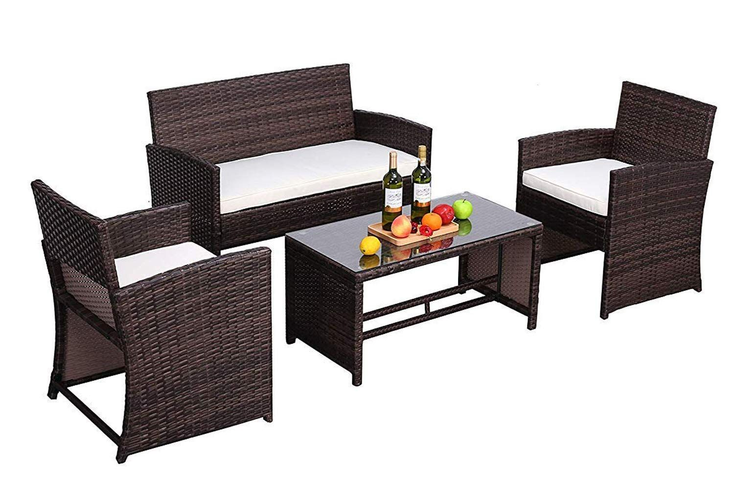 Do4u Outdoor Patio Furniture Set 4 Pcs Pe Rattan Wicker Garden Sofa And Chairs Set With Beige Cushion With Table Mix Beige