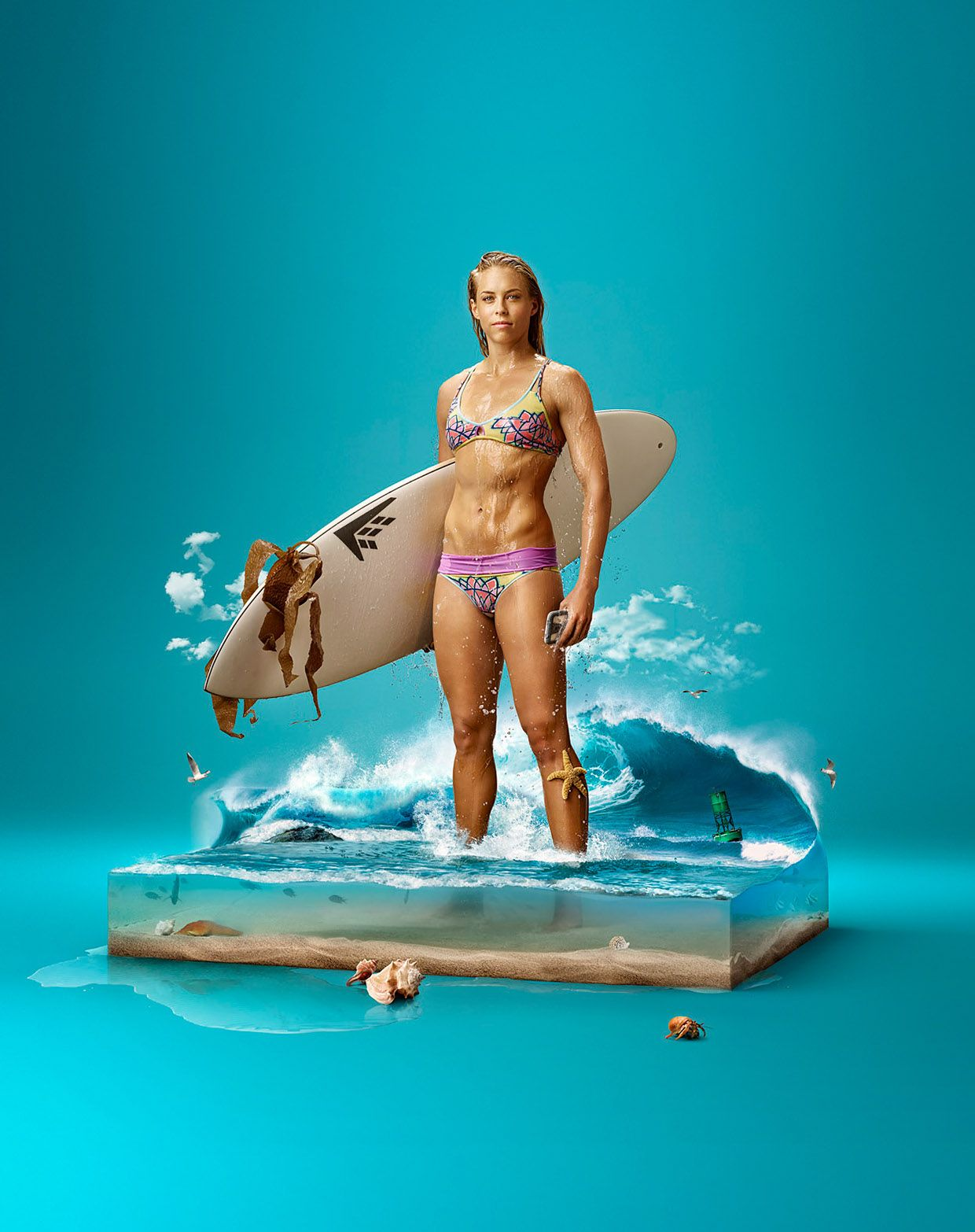the creative lifeproof galaxy s case advertising campaign surf surreal photo manipulation by oleg dou