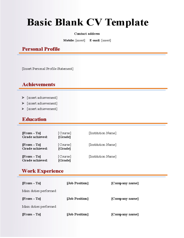 Basic Blank Cv Resume Template For Fresher Free Download In 2020 Cv Template Word Creative Resume Template Free Resume Template Word