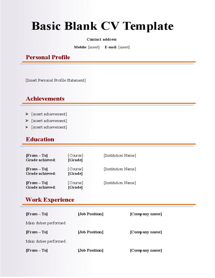 CV Template Resume Template Cv Resume Template Resume