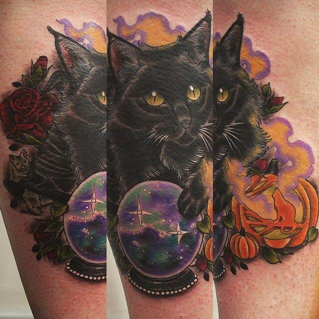 63b768935 black cat tattoo neo traditional - Поиск в Google | Tattoos | Cat ...