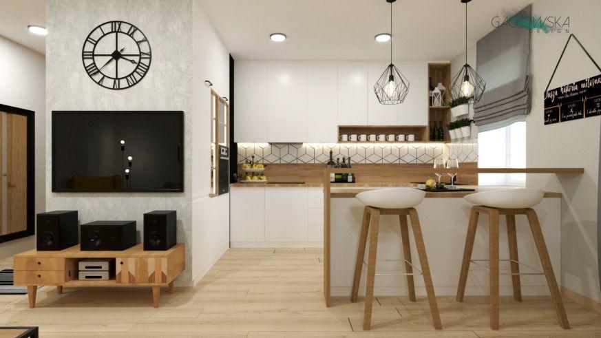 Biala Kuchnia Z Drewnianym Blatem Mala Kuchnia Z Barem Styl Skandynawski Projekt Gackowska Design Kuchnia Jadalnia Wnetrze Home Decor Home Sweet Home