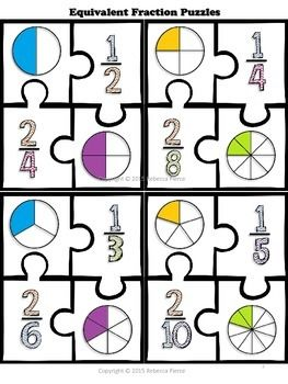free math center equivalent fraction puzzles  math  math math  free math center equivalent fraction puzzles by chalkboard creations   teachers pay teachers